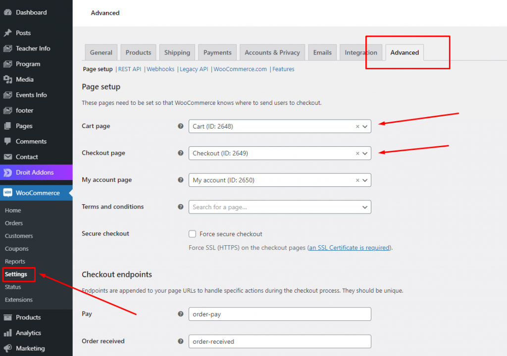 Cart and checkout page settings