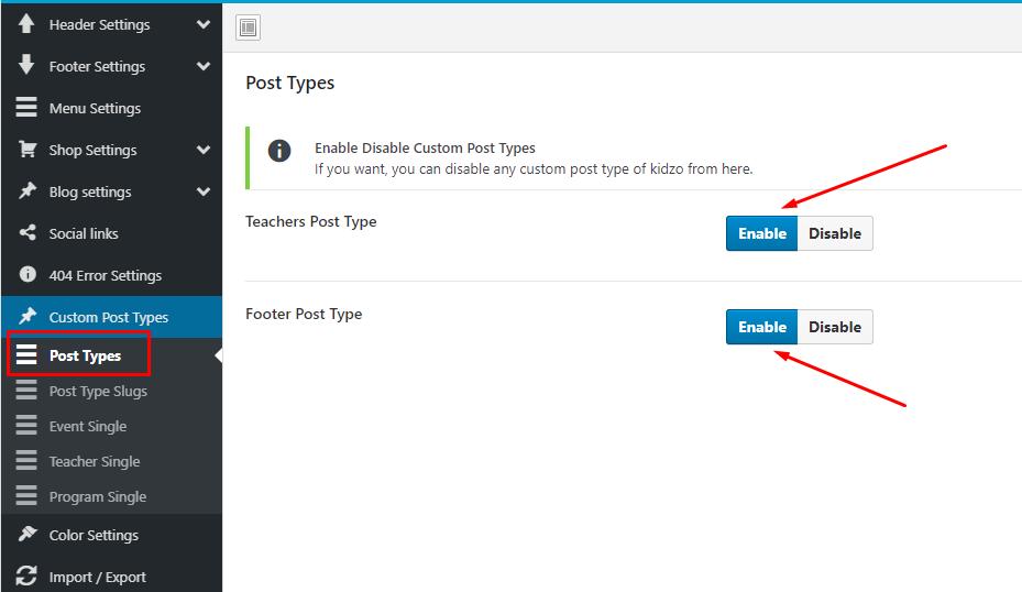 Custome post type settings - kidzo wordpress theme