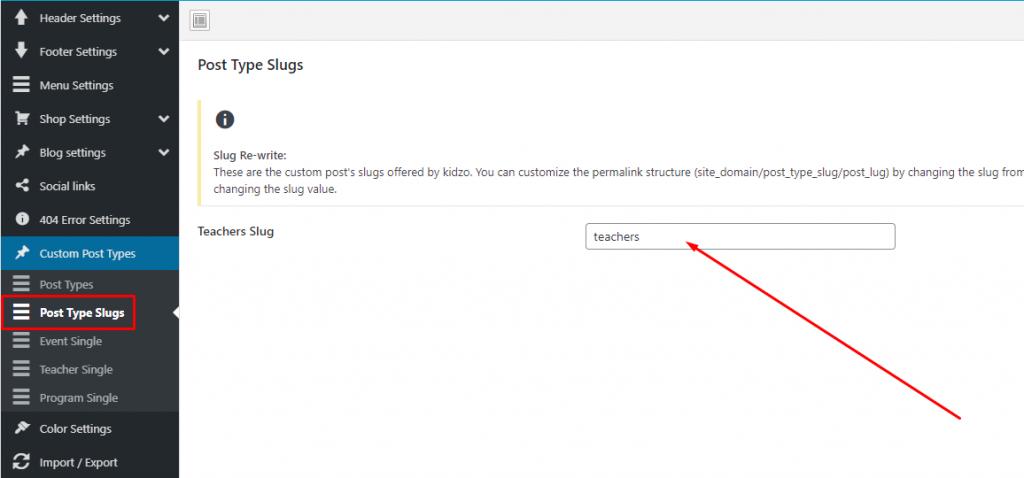 Custome post type slug settings - kidzo wordpress theme