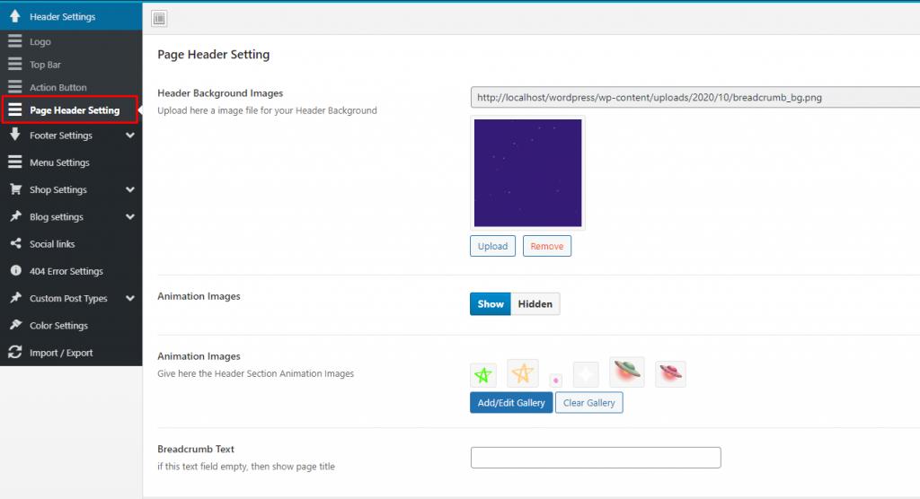 Page header settings - kidzo wordpress theme