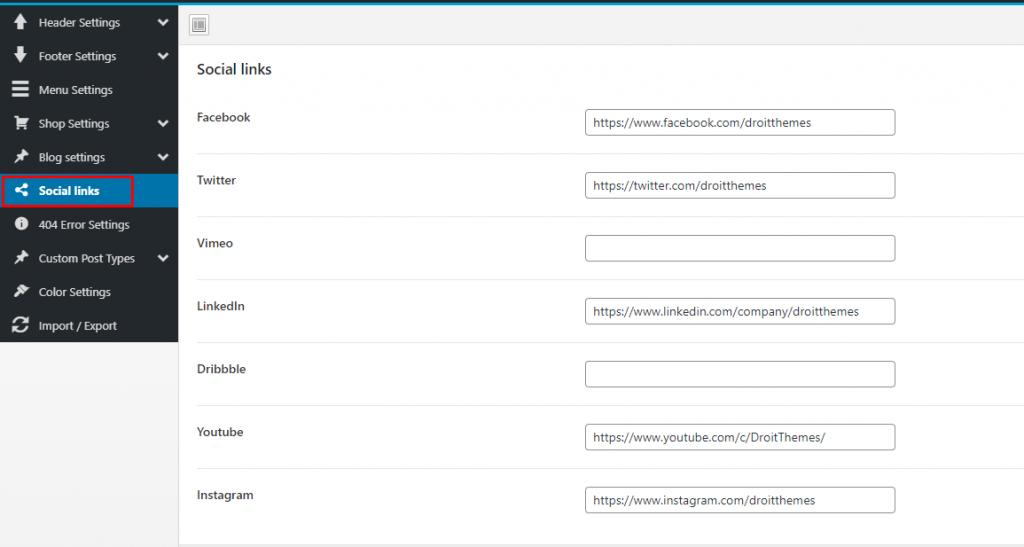 Social Links Settings - Kidzo WordPress Theme