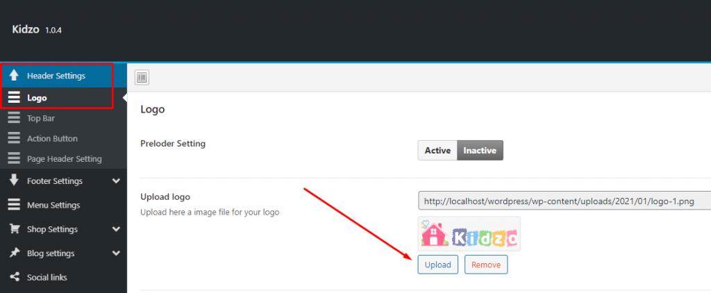 Upload logo - Kidzo WordPress Theme