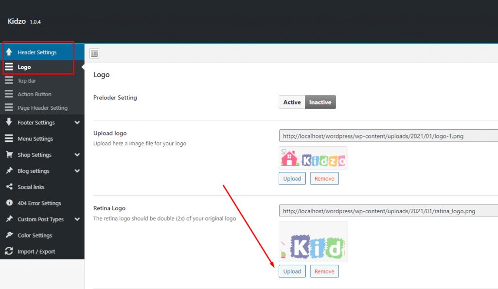 Upload retina logo - Kidzo WordPress Theme