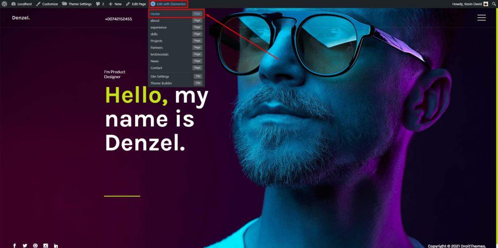 Denzel Home Section Edit