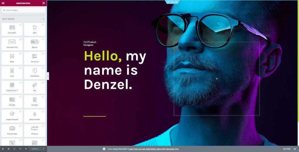 Denzel Home Section Edit with Elementor
